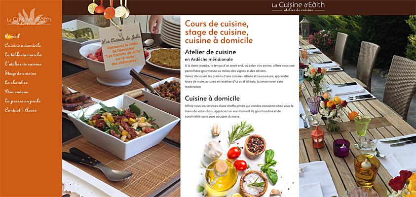 Site web de la Cuisine d'Edith en Ardèche, Provence
